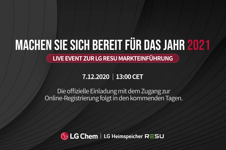 SAVE THE DATE: Online Produktvorstellung LG Energy Solution RESU